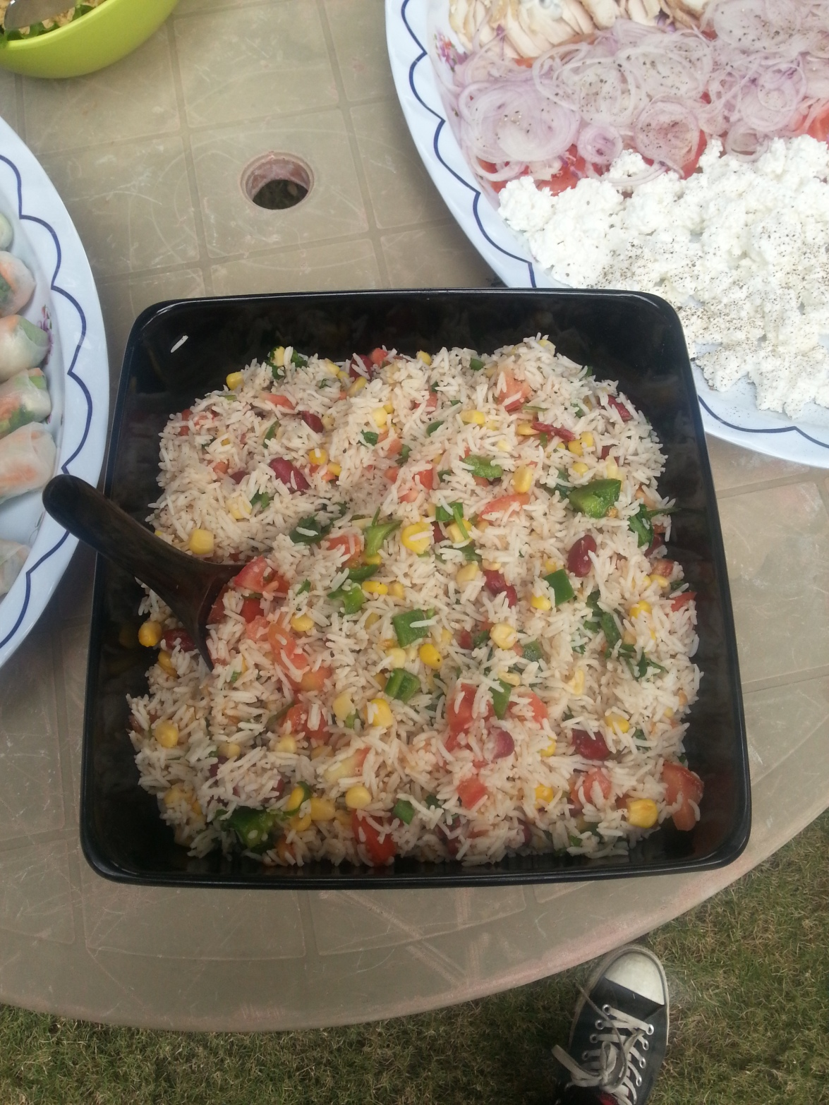 Rice salad with kidney beans and sweet corn
