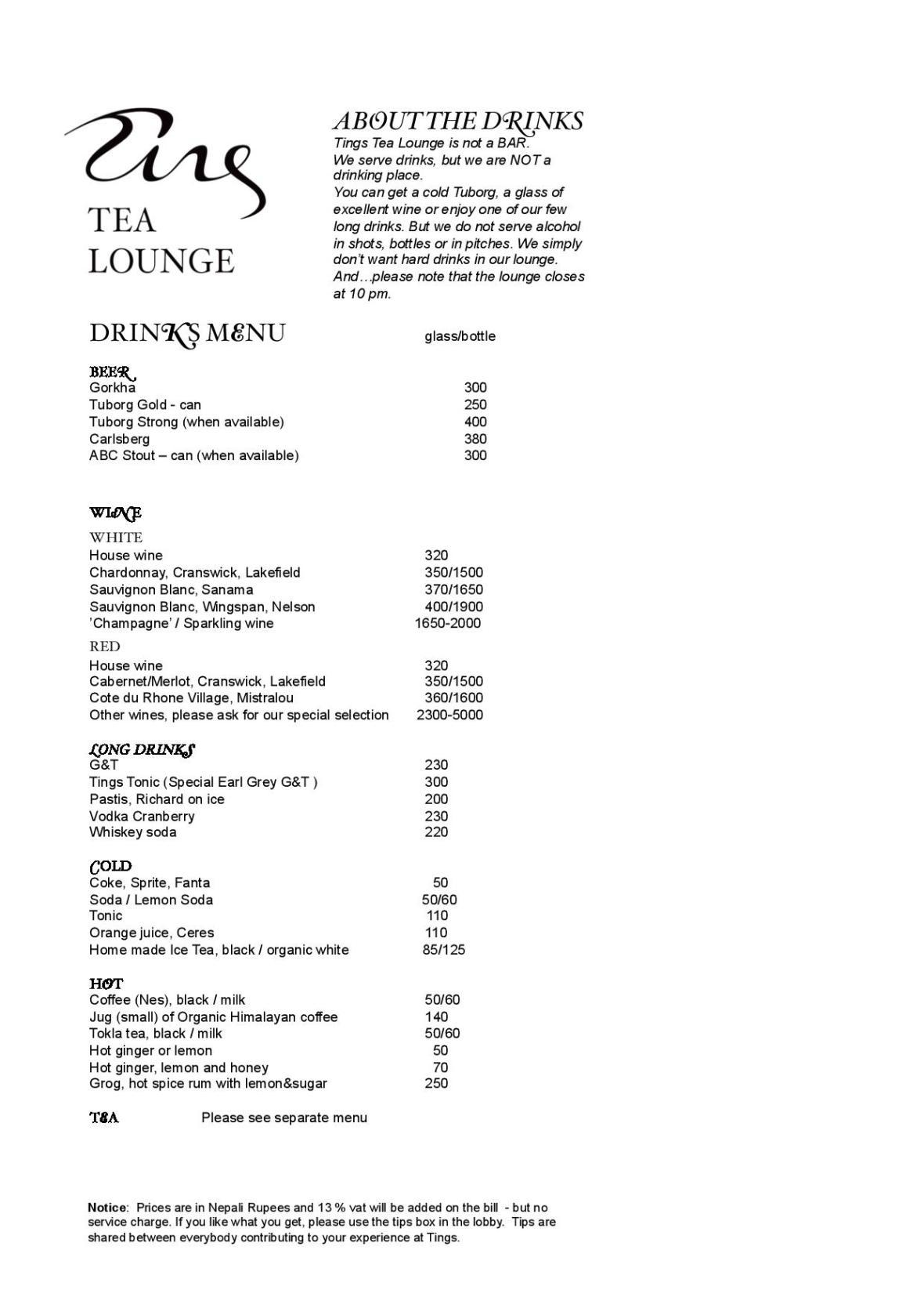 Tings drinks menu updated December 6