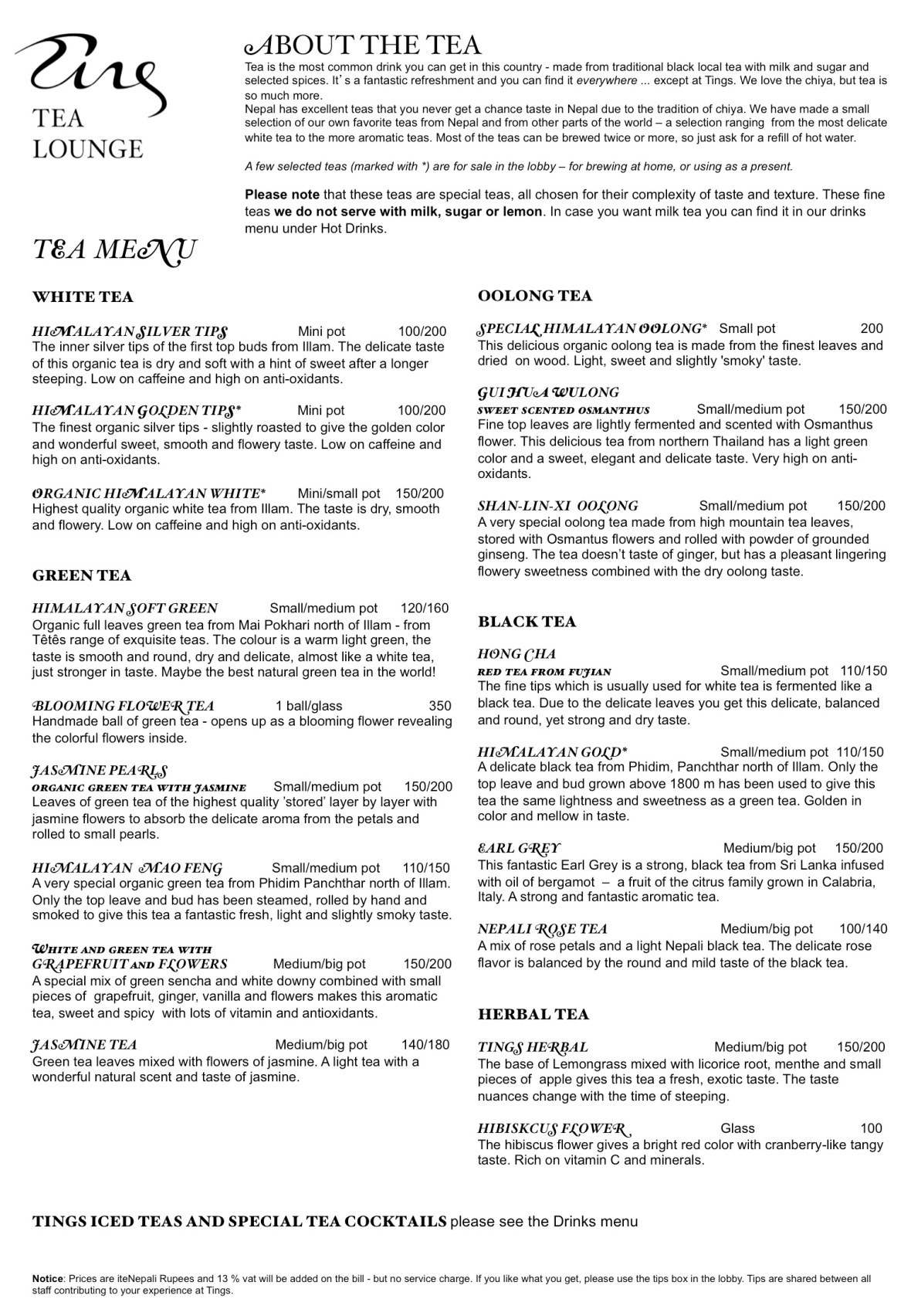 Tea menu april 2016